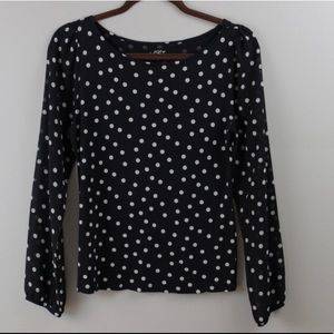 Loft Mixed Material Polka Dot Top